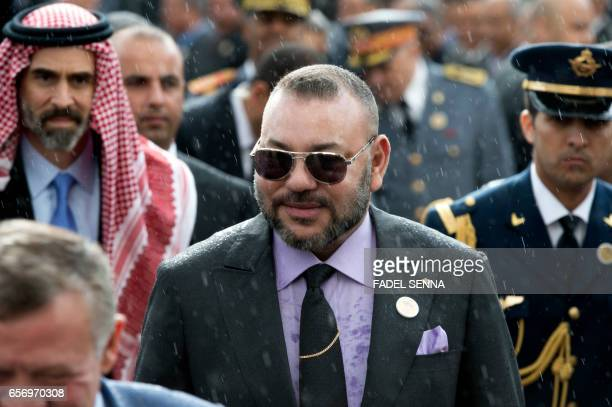 Moroccan King Mohamed VI attends with his Jordanian counterpart the inauguration of an exhibition in the Museum of Modern and Contemporary Art in...