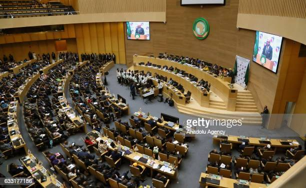Moroccan King Mohammed VI delivers a speech during closing ceremony of 28th African Union Summit in Addis Ababa Ethiopia on January 31 2017