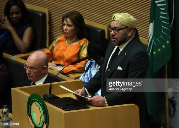 Moroccan King Mohammed VI delivers a speech to the assembly of the African Union heads of state and government for the first time in 34 years in...