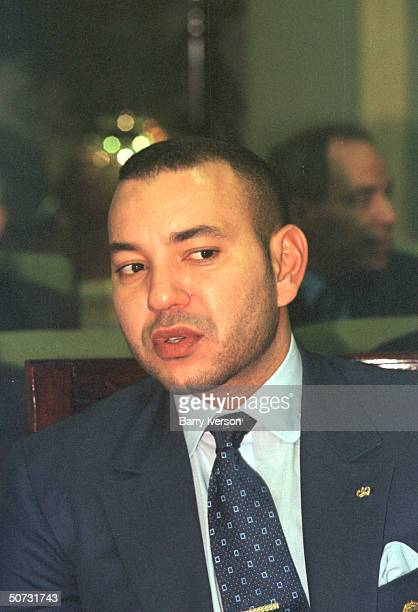 Moroccan King Mohammed VI in serious portrait during Arab League summit held October 21-22.