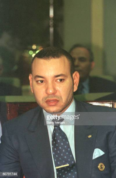 Moroccan King Mohammed VI in serious portrait during Arab League summit held October 2122