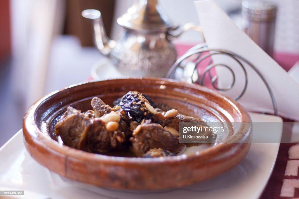 moroccan lamb tajine dish : Stock Photo