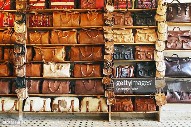 moroccan leather bags - leather purse stock pictures, royalty-free photos & images