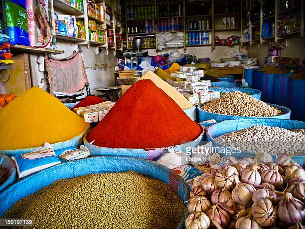 moroccan market spice stall - agadir stock pictures, royalty-free photos & images