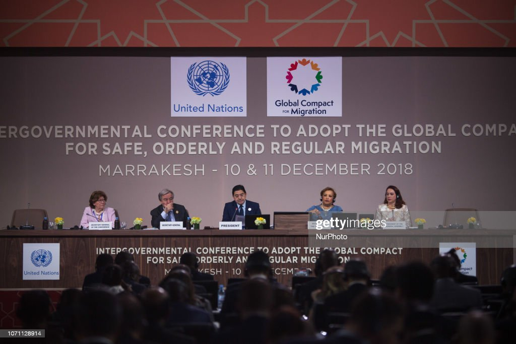 Nasser Bourita, Antonio Guterres, Louise Arbour, Maria Fernanda Espinosa Gerces : News Photo