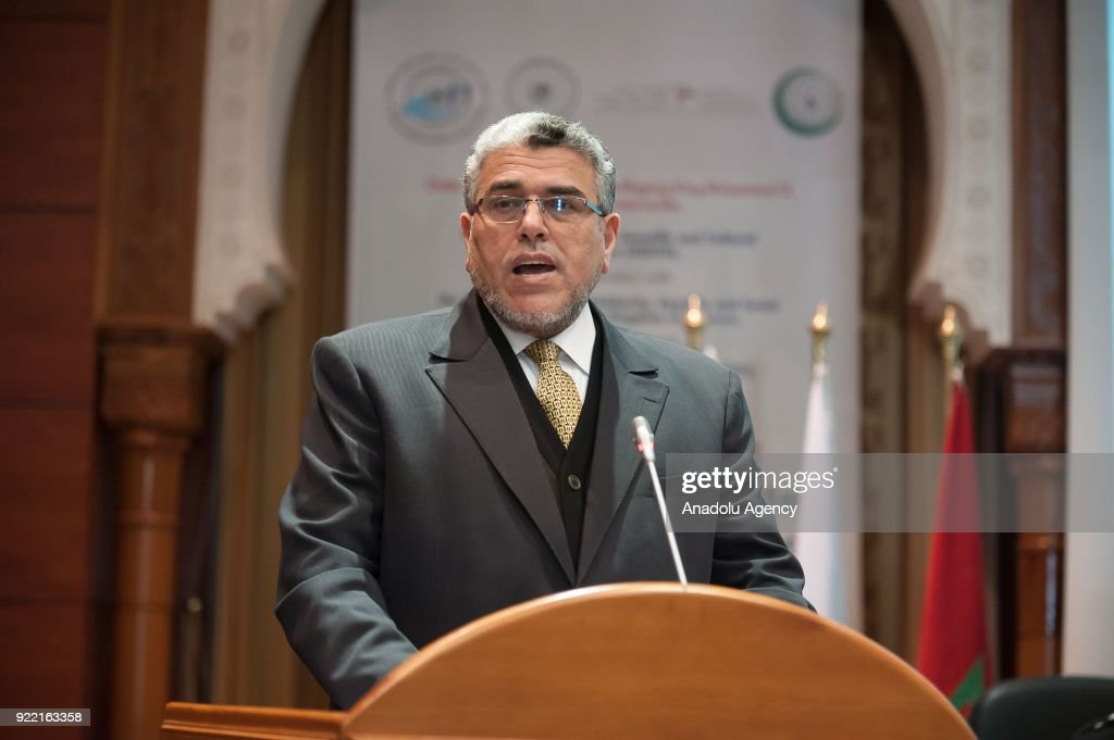Moroccan Minister of Human Rights Mustapha Ramid makes a speech during 5th Islamic Conference of Ministers in charge of Childhood at Islamic Educational, Scientific and Cultural Organization headquarters in Rabat, Morocco on February 21, 2018.