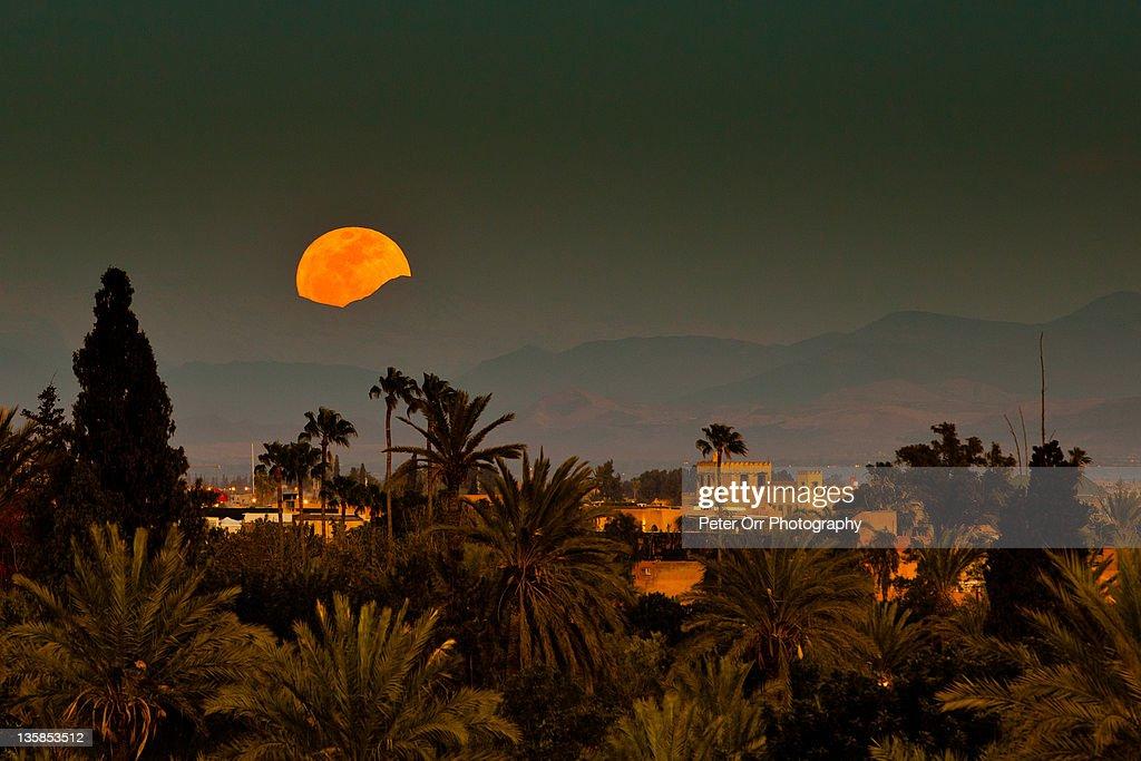 Moroccan moonrise : Stock Photo