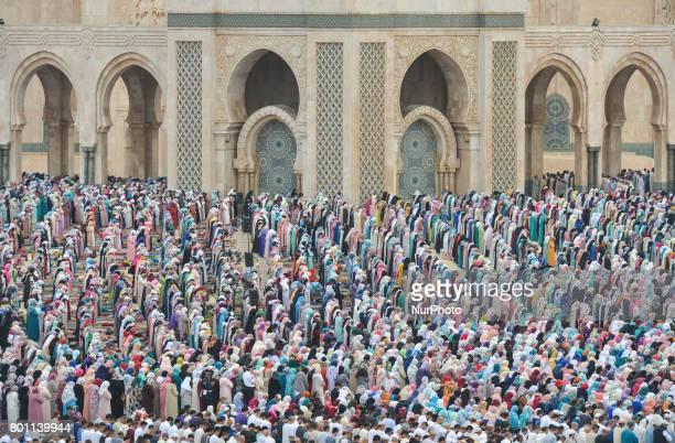 Moroccan Muslims gather to celebrate Eid alFitr Prayer in Casablanca's Hassan II mosque Muslims around the world celebrate Eid alFitr marking the end...
