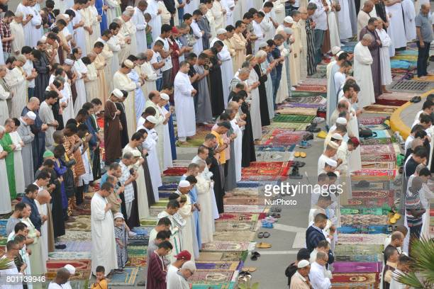 Moroccan Muslims gather to celebrate Eid alFitr Prayer in Casablanca's Hassan II mosque Muslims around the world celebrate Eid alFitr marking the end...