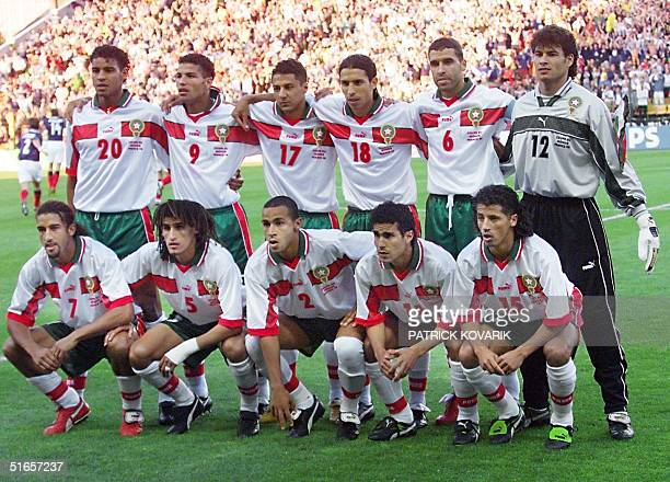 Moroccan players pose 23 June for the official team picture at the Stade Geoffroy Guichard in SaintEtienne central France before the 1998 Soccer...