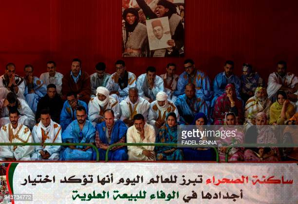 Moroccan political parties' members attend a meeting on April 9 in Laayoune the former capital of Western Sahara to address a a matter related to the...