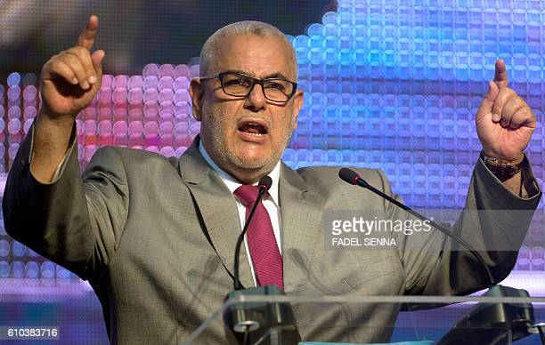 Moroccan Prime Minister and Secretary General of the ruling Islamic Justice and Development Party Abdelilah Benkirane speaks during a party meeting...