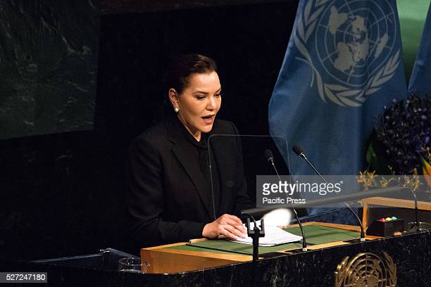 Moroccan Princess Lalla Hasna addresses the General Assembly Leaders from around the world gathered in General Assembly Hall at UN Headquarters in...