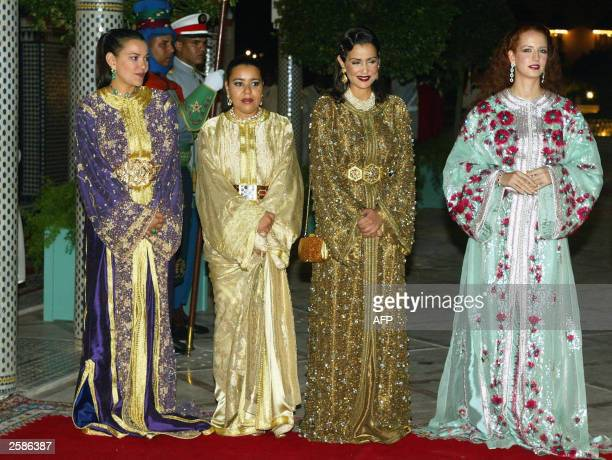 Moroccan Princess Lalla Hasna Princess Lalla Hasma Princess Lalla Meriam and Princess Lalla Salma attend a dinner marking the state visit by French...