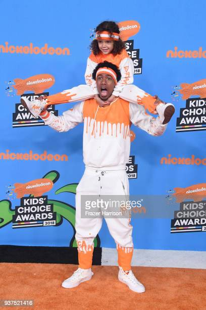 Moroccan Scott Cannon and Nick Cannon attend Nickelodeon's 2018 Kids' Choice Awards at The Forum on March 24 2018 in Inglewood California