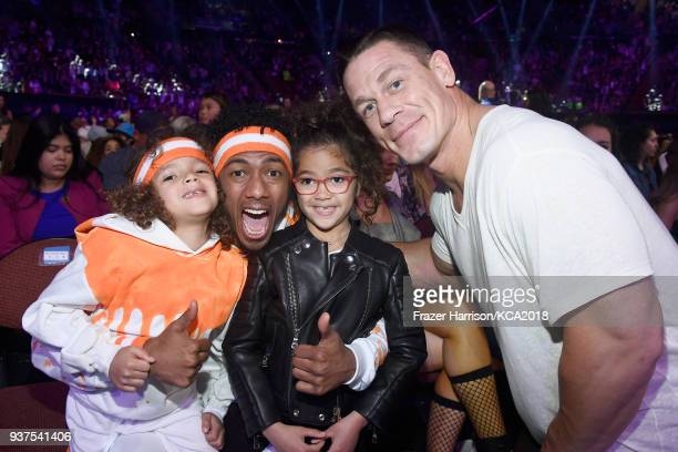 Moroccan Scott Cannon Nick Cannon Monroe Cannon and John Cena attend Nickelodeon's 2018 Kids' Choice Awards at The Forum on March 24 2018 in...