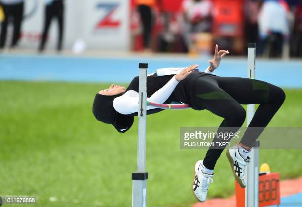 Moroccan Siba Ghizlane jumps high to win gold at the Women's high jump event on the final day of the African Athletics Championship at the Stephen...