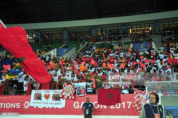 Moroccan soccer fans support their team during the African Cup of Nations 2017 Group C match between DR Congo and Morocco in Oyem Gabon on January 16...