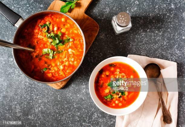 Moroccan soup with chickpeas top view