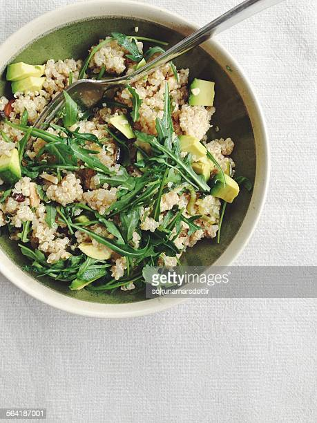 moroccan spiced quinoa salad with avocado - quinoa stock pictures, royalty-free photos & images