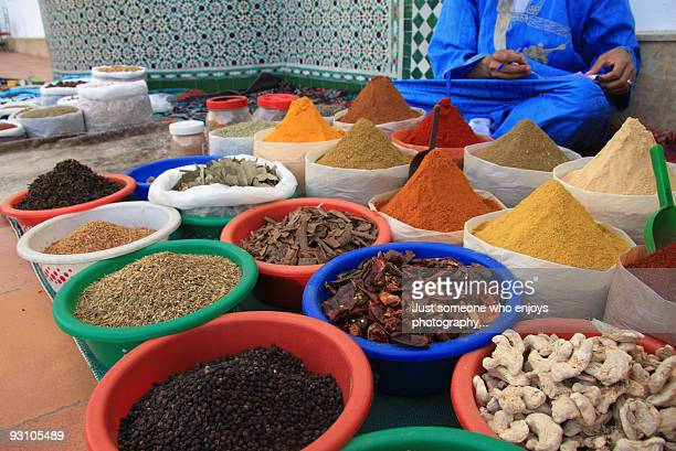 moroccan spices at the market - agadir stock pictures, royalty-free photos & images