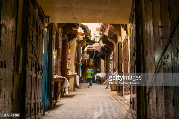 Moroccan street market or souk, Fez, Africa