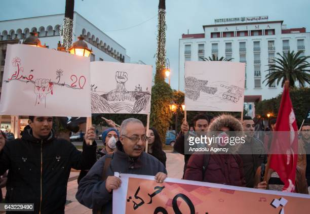 Moroccan supporters of the 20 February Movement take part in a demonstration to mark the 6th foundation anniversary of the movement in Rabat Morocco...