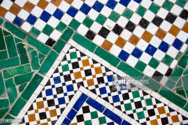 moroccan tiles with traditional arabic patterns, marrakesh - 新古典派 ストックフォトと画像