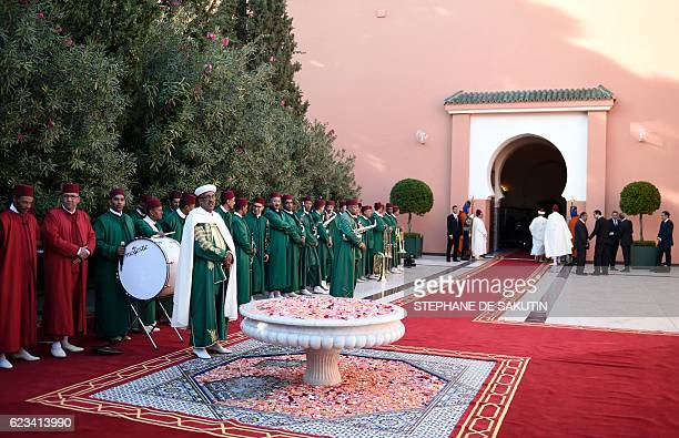Moroccan traditional musicians perform during the official lunch for the opening of the highlevel segment of the COP22 Climate Change Conference at...