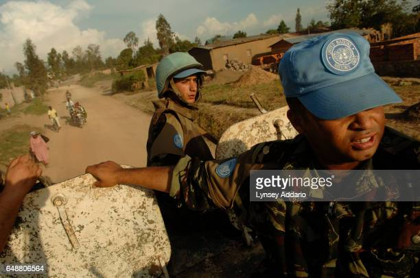 Moroccan troops with the UN Peacekeeping forces patrol the streets of Bunia Ituri province Democratic Republic of the Congo DRC on June 10 2006 The...