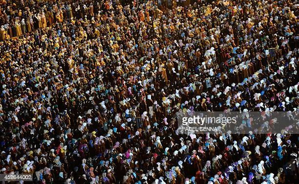 Moroccan women pray at Hassan II mosque in the Moroccan city of Casablanca late on July 24 2014 during the 'Lailat alQadr' which falls on the 27th...