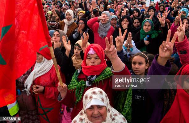 Moroccan women shout slogans during a demonstration against economic marginalisation on January 20 in the northeastern city of Jerada 60 kilometres...