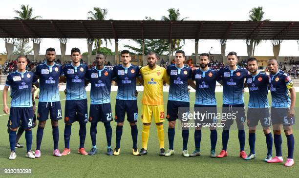 Moroccan Wydad Athletic club's team players poses prior to the CAF Champions league football match between Williamsville Athletic Club and Wydad...