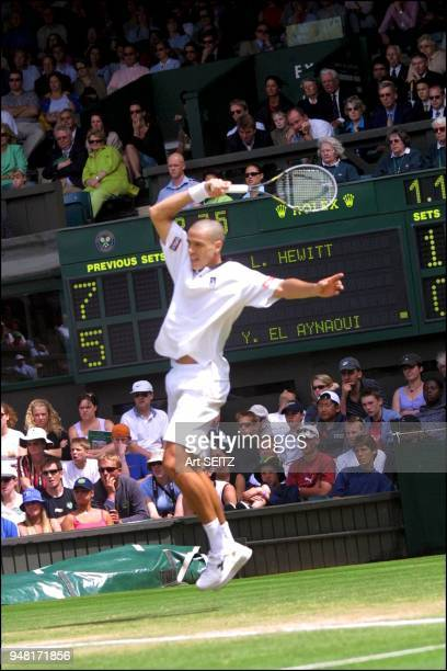 Moroccan Younes El Aynaoui of Morocco put up a 4set fight before succumbing in tiebreaker to Australia's Lleyton Hewitt seeded 5th and and undefeated...