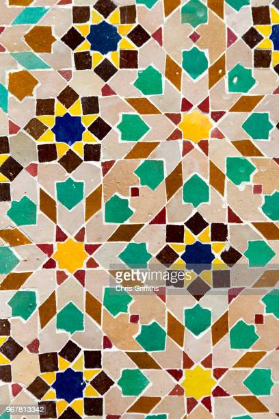 moroccan zellige mosaic pattern, marrakesh, morocco - african pattern stock photos and pictures
