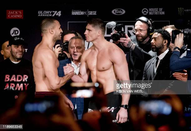 Moroccanborn Dutch kickboxer Badr Hari and Dutch kickboxer Rico Verhoeven staredown at each other ahead of a match between the two kick boxers at the...