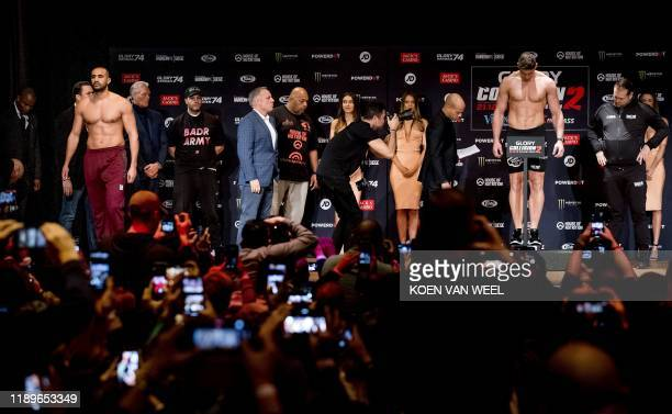 Moroccanborn Dutch kickboxer Badr Hari and Dutch kickboxer Rico Verhoeven face each other ahead of a match between the two kick boxers at the hotel...