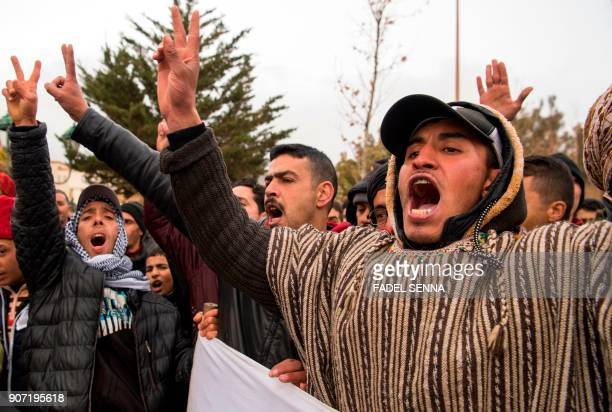 Moroccans shout slogans during a demonstration against economic marginalisation on January 19 in the northeastern city of Jerada 60 kilometres...