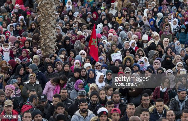 Moroccans take part in a demonstration against economic marginalisation on January 20 in the northeastern city of Jerada 60 kilometres southwest of...