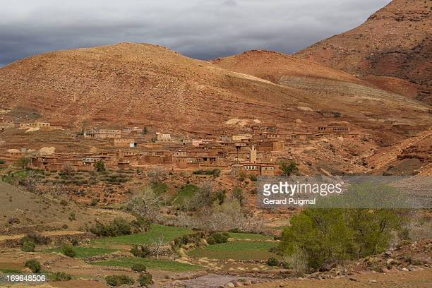 Moroccian village surrounded by mountains