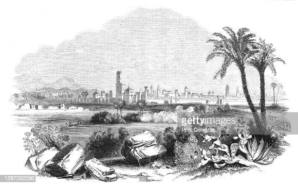 """Morocco, 1844. Walled city in North Africa. From """"Illustrated London News"""" Vol V. Artist Unknown."""