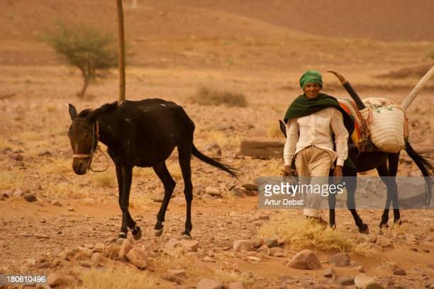 CONTENT] morocco africa farmer horse dry desert landscape wind