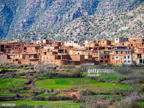 Morocco, Atlas Mountains, Ourika Valley, loam houses in village Anammer