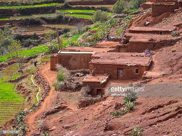 morocco, atlas mountains, ourika valley, loam houses in village anammer - loam stock photos and pictures