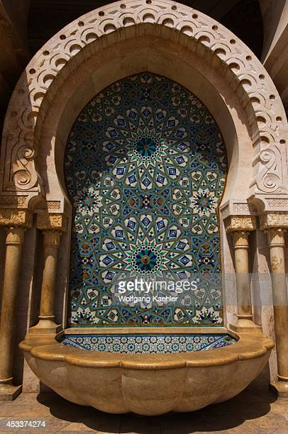 Morocco Casablanca Hassan Ii Mosque Courtyard Fountain With Tilework