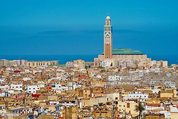 morocco, casablanca, old medina and hassan ii mosque - mosque hassan ii stock photos and pictures
