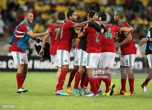 AFRICA JANUARY 27 Morocco celebrate their second goal during the 2013 Orange African Cup of Nations match between South Africa and Morocco from Moses...