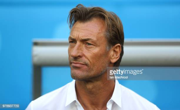Morocco coach Herve Renard is seen during the 2018 FIFA World Cup Russia group B match between Morocco and Iran at Saint Petersburg Stadium on June...