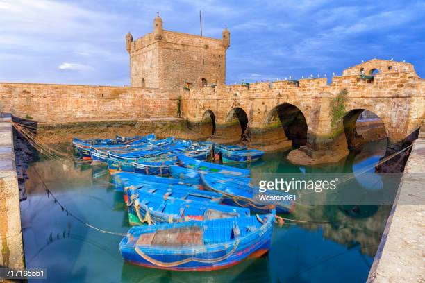 Morocco, Essaouira, blue fishing boats in the harbour