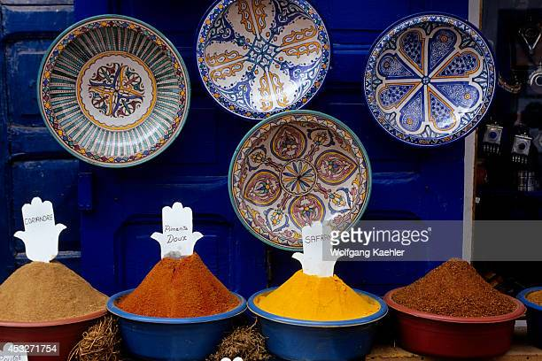 Morocco Essaouira Spices And Colorful Plates